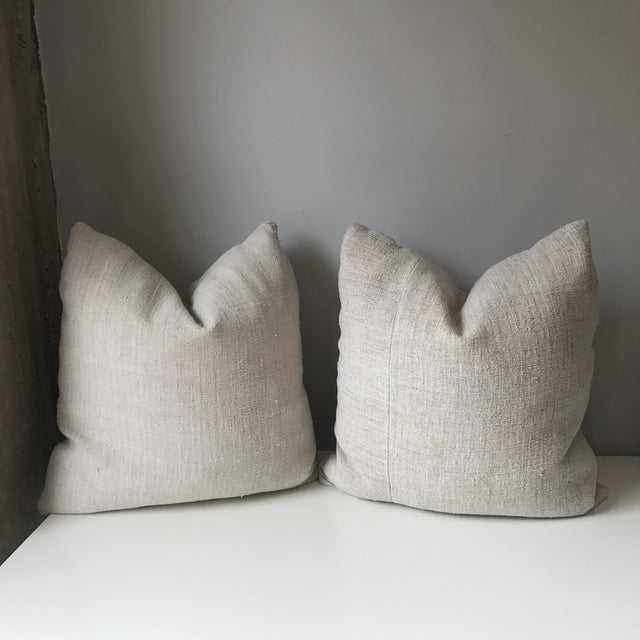 French Grain Sack Pillows - A Pair - Image 2 of 7