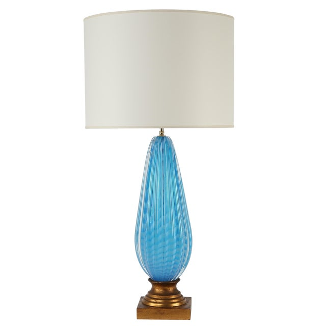 Sophisticated 1950s Murano Blue Glass Table Lamp On Gilt Base Decaso