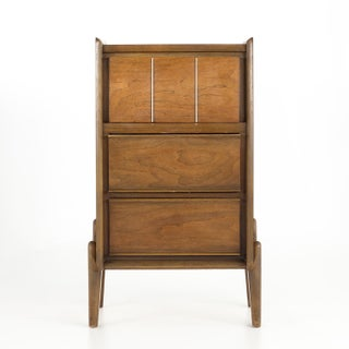 Vintage Mid Century United Walnut Tall Nightstand Preview