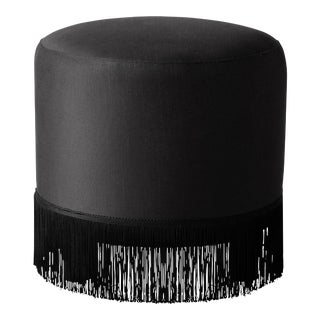 Fringe Ottoman in Shantung Black For Sale