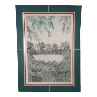 """Brazilian Original 1/1 """"Recanto Vll"""" Landscape Monoprint Signed Cecilia Mayr For Sale"""