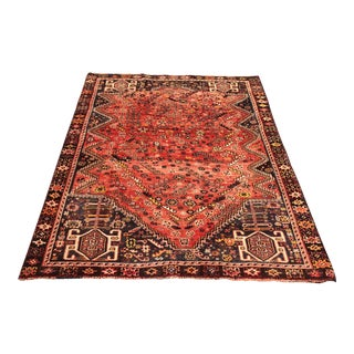 "Hand Weaved Vintage Persian Qashghi Rug - 4'6""x5'11"" For Sale"