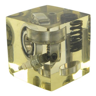 1970s Pierre Giraudon Resin Cube Sculpture Paperweight Car Parts For Sale