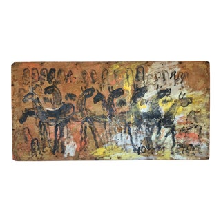 1980s Purvis Young Outsider Art Painting on Plywood of Horses in the Mountains For Sale