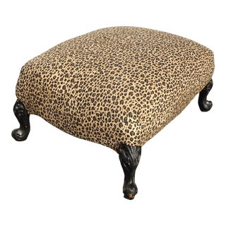 Vintage French Country Leopard Print Black & Tan Ottoman Footstool For Sale