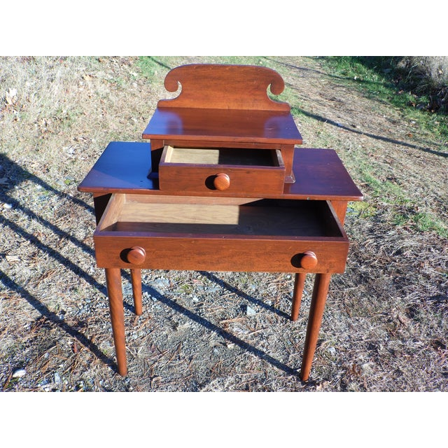 Mid 19th Century Antique 1840's Sheraton 2 Drawer Stand Desk Vanity Entry Table New England For Sale - Image 5 of 13