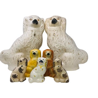 Final Markdown - Late 20th Century Antique Staffordshire Ceramic Cavalier Spaniel Dog Pottery Set –7 Pieces For Sale