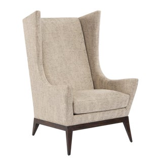 Mid-Century Wing Back Upholstered Club Chair For Sale