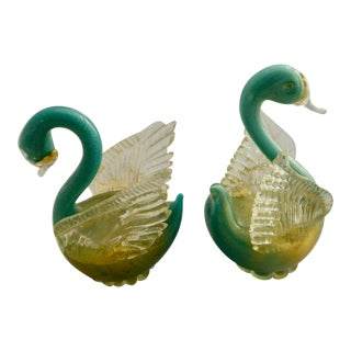 Pair of Mid Century Murano Glass Swans For Sale