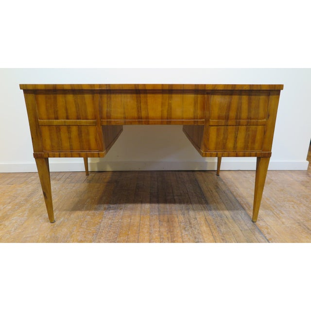 Midcentury Tiger Wood Desk For Sale - Image 11 of 13