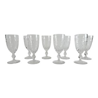 1940s English Traditional Crystal Sherry Port Stemmed Glasses - Set of 8 For Sale