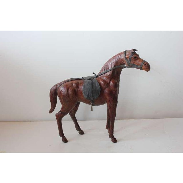Large hand made leather horse figurine.