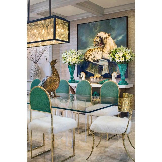 Animal Skin Aqua Brass Klismos Chair by Sylvan Sf For Sale - Image 7 of 9