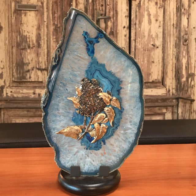Italian agate table light with gold brass leaves. What a light, a must for your casa.