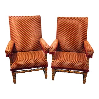 French Louis XIV Walnut Arm Chairs - a Pair For Sale