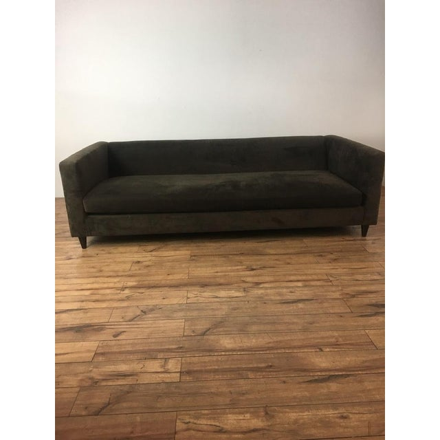 Crate & Barrel Brown Suede Sofa - Image 3 of 6