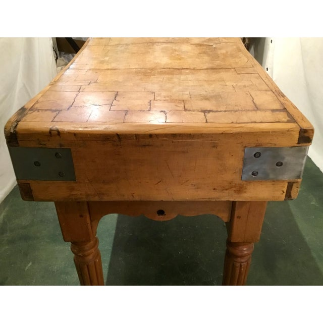 Brown 19th C. French Carved Butcher Block Table For Sale - Image 8 of 13