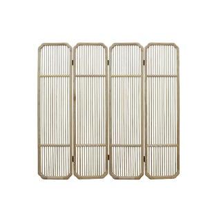 Fine Polish Raw Finish Bar Pattern Wood Panel Screen Room Divider For Sale