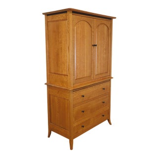 Bunker Hill Collection Amish Oak Handcrafted Armoire For Sale