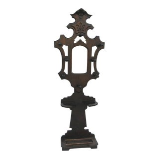 1870 Victorian Walnut Hall Tree With Mirror For Sale