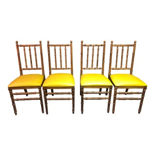Mid Century Faux Bamboo Folding Chair - Set of 4 For Sale