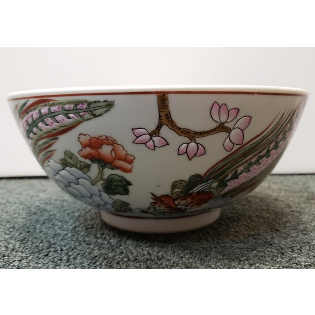 Mid 20th Century Chinese Famille Verte Porcelain Peacock/Floral Motifs Bowl For Sale - Image 4 of 8