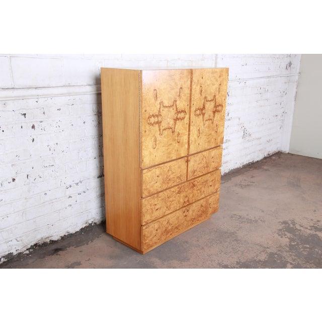 Danish Modern Milo Baughman Style Burl Wood Gentleman's Chest by Lane For Sale - Image 3 of 13