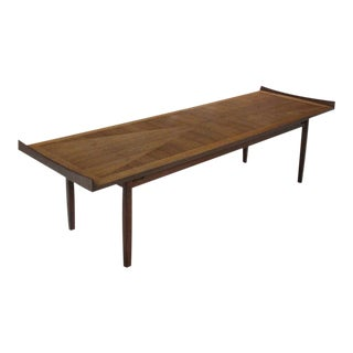 Mid Century Danish Modern Long Rectangle Walnut Coffee Table For Sale