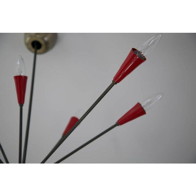 Black Italian Red Stilnovo Style Seventeen-Light Sputnik Chandelier, Circa 1950 For Sale - Image 8 of 11