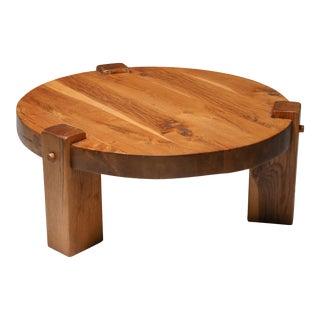 1960s Rustic Modern Coffee Table in Solid Oak For Sale