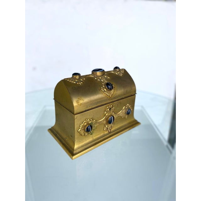 Traditional Gilt-Metal Box With Stone Accents For Sale - Image 3 of 12