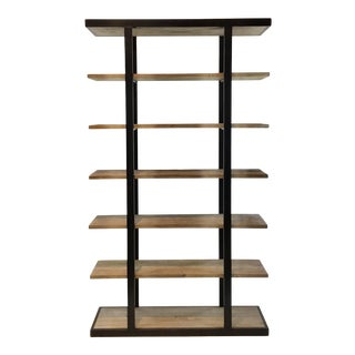 Bidk Home Industrial Modern Reclaimed Wood and Metal Etagere For Sale
