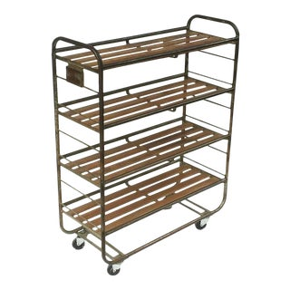 French Industrial Rolling Rack of Steel and Wood For Sale