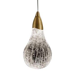 Crackle Glass Pear Single Light For Sale
