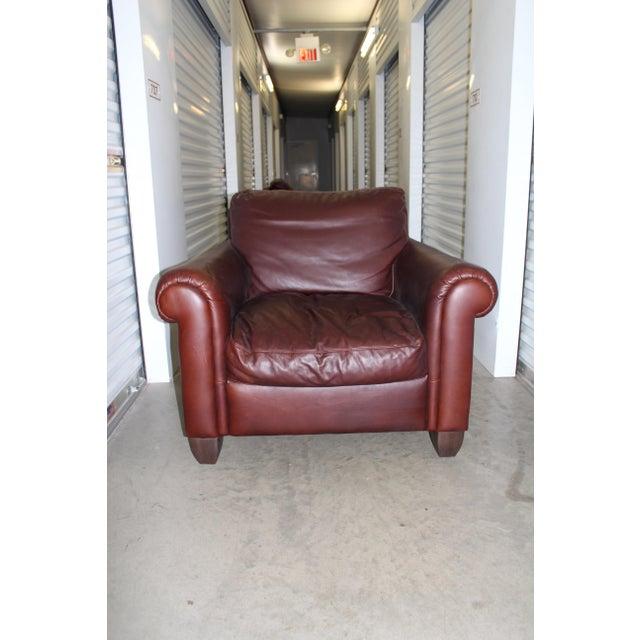 Natuzzi Leather Club Chair & Ottoman - Image 4 of 5