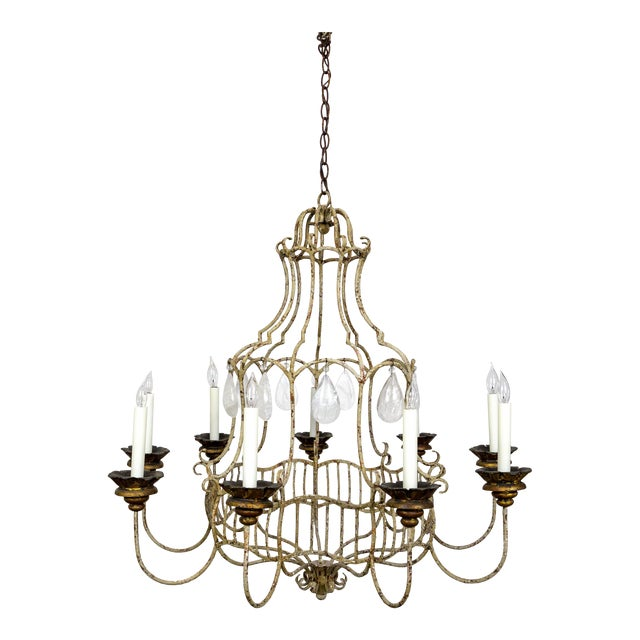 Belle Epoque Style Tan Painted Birdcage Chandelier With Rock Crystals For Sale