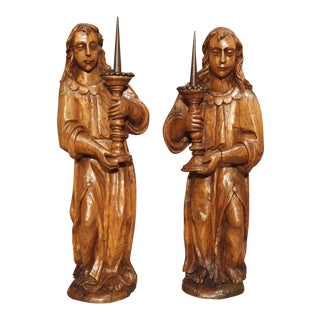 A Pair of French 17th Century Angel Candle Holders in Carved Elmwood For Sale
