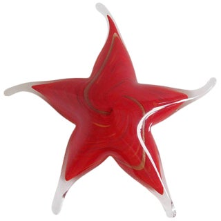 Red Murano Star Paperweight For Sale