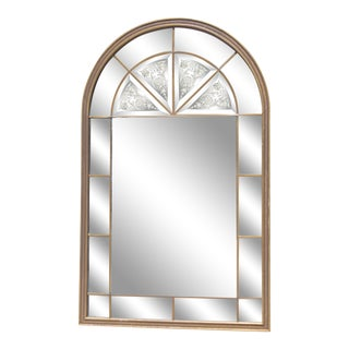Venetian Arched Windowpane Mirror For Sale