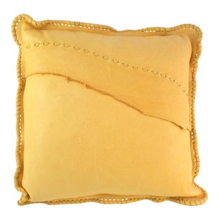 Golden Leather Pillow For Sale