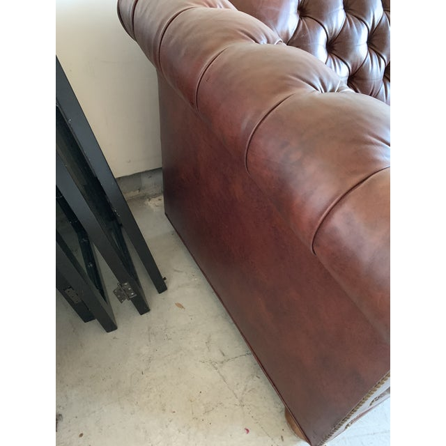 English Vintage Chesterfield Leather Sofa For Sale - Image 3 of 9