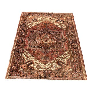 Vintage Persian Heriz Large Area Rug - 7′2″ × 9′2″ For Sale