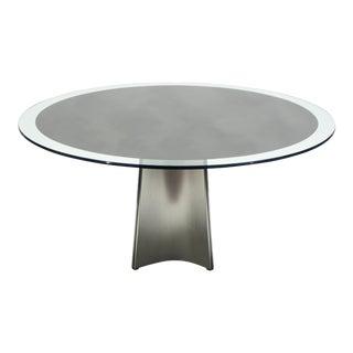 Luigi Saccardo for Maison Jansen Brushed Steel Glass Dining Table 1970s For Sale