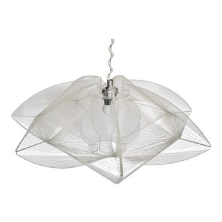Brevettato Mid Century Modern Italian Lucite and Monofilament Chandelier in the Style of Naum Gabo For Sale