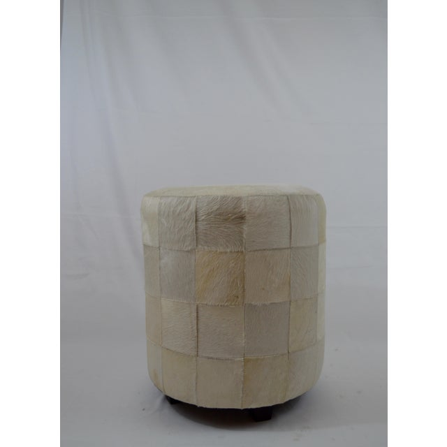 Contemporary Arteriors Home Faux Fur Patchwork Ottoman For Sale - Image 3 of 6