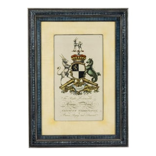 English Georgian Coat of Arms Engraving For Sale