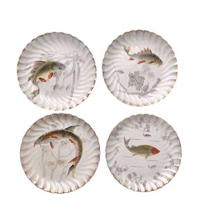 Early 20th Century Antique Austrian Gilt Scalloped Fish Plates - Set of 4 For Sale