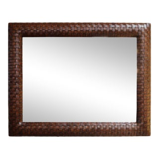 Brown Leather Weaved Frame Mirror For Sale