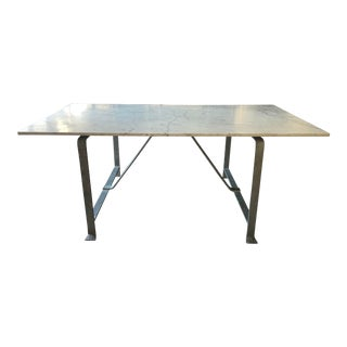 20th Century French Marble and Steel Dining Table For Sale