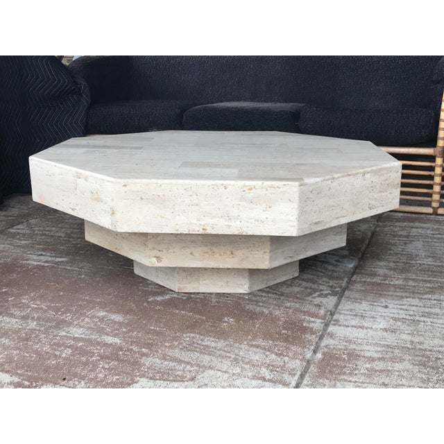 Stone Octagonal Stacked Travertine Coffee Table For Sale - Image 7 of 12